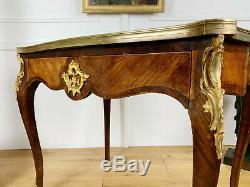 Bureau Époque Napoléon III En Marqueterie Orné De Bronze Doré De Style Louis XV