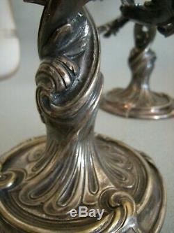 CHRISTOFLE Paire de bougeoirs 2 bobèches style rocaille Louis XV Bronze Argenté