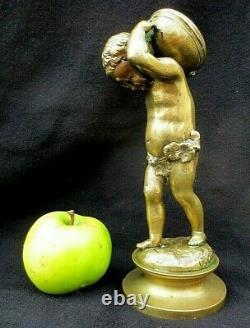CLODION, Sculpture en bronze d'amour musicien Chérubin tambour -XIX°