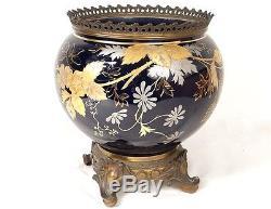 Cache-pot jardinière porcelaine Limoges dorure bronze Napoléon III XIXème