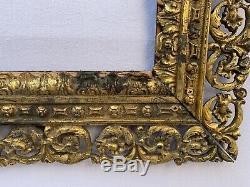 Cadre Bronze 19eme Grande Taille Decor Macaron Entrelacement Napoleon III C1696