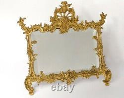 Cadre bronze doré rocaille miroir glace feuillage Napoléon III frame XIXème