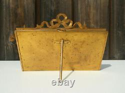 Cadre rectangulaire / porte-photo à double vue en bronze doré Napoléon III