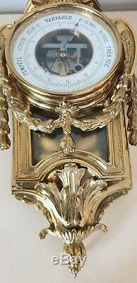 Cartel & Baromètre Dapplique Louis XVI En Pendant En Bronze XIX Napoléon III