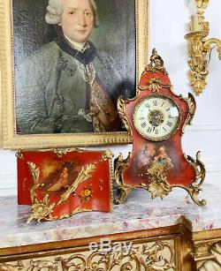 Cartel D'époque Napoléon III Et Sa Console En Vernis Martin De Style Louis XV