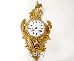 Cartel Louis XV bronze doré ajouré fleurs feuillage clock Napoléon III XIXè