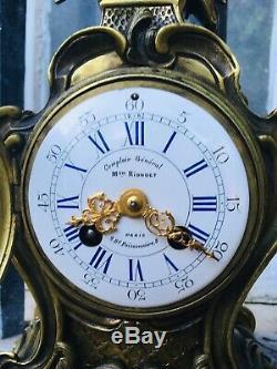 Cartel Pendule Horloge Epoque Napoleon III Style Rocaille En Bronze