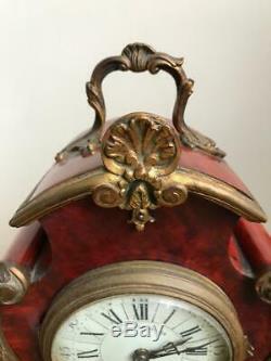 Cartel à poser pendule en écaille et bronze doré Japy Frères Napoléon III 1860