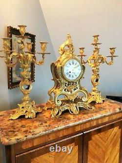 Cartel et Candélabres formant Garniture de Cheminée ou Table LouisXV NapoléonIII