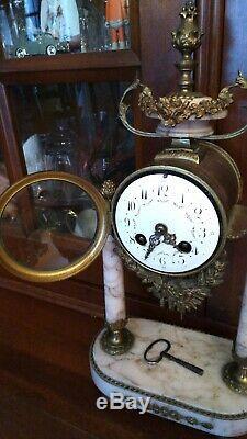 Cartel horloge à colonne bronze et marbre XIXème époque Napoléon III