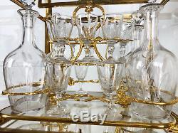 Cave À Liqueurs D'époque Napoléon 3 En Bronze Doré Et Cristal (service Complet)