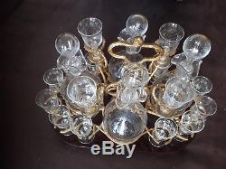 Cave à Liqueur Napoléon 3 complet 20 pièces cristal Bois Nacre Cerclé de bronze