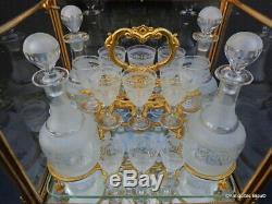 Cave à liqueur vitrée en bronze d'époque Napoléon III verrerie complète