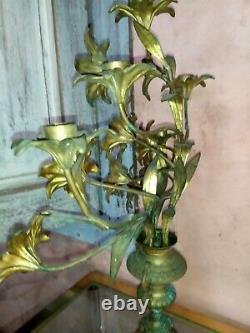 Chandelier candélabre d'église bronze fleurs de lys 5 feux