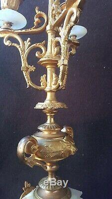Chandeliers Candelabre Bronze Doré Onyx Décor Tête De Lion 19ème Napoléon 3 42cm