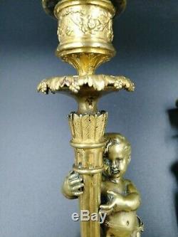 Chandeliers candélabres putti chérubin bougeoirs bronz Napoléon III candlestick