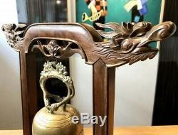 Chine Ou Vietnam, Fin XIXème Début XXème Siècle, Cloche En Bronze Sur Portique