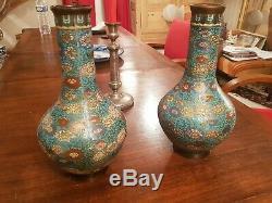 Chine, paire de vase en bronze et émail cloisonné grand modèle, signé XIX ème s