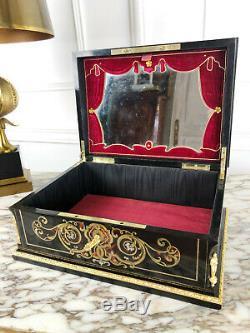 Coffret À Bijoux D'époque Napoléon III Signé Tahan En Marqueterie Boulle