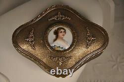 Coffret Ancien Napoleon III Portrait Miniature Antique Bronze Case