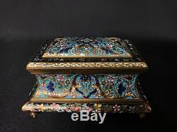 Coffret En Bronze Cloisonne Napoleon III Barbedienne 19eme Pieds Toupies C1623