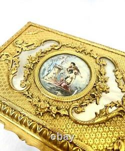 Coffret En Bronze Doré Nacre Et Dessus En Peinture, Napoleon III