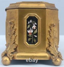 Coffret Napoléon III Bronze Doré Pietra Dura Ormolu Jewelry Casket Tahan Nap III