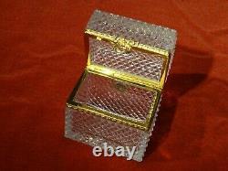 Coffret en cristal pointes de diamant monture bronze doré style Napoléon III