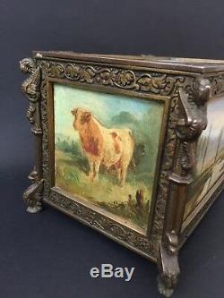 Coffret peint, scène de chasse à courre, poules, taureau, bronze et bois