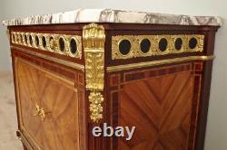 Commode Napoléon III marquetée bronzes dorés signée Mercier