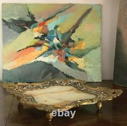 Coupe Bronze Quadrilobe décor émaux cloisonnés et Onyx Style Rocaille