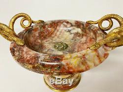 Coupe D'époque Napoléon III En Marbre À Décor De Serpents En Bronze Doré