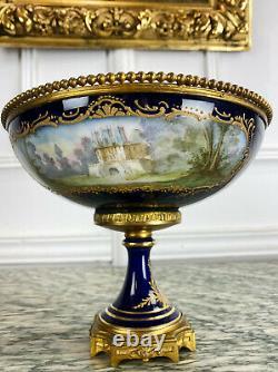 Coupe D'epoque Napoleon III En Porcelaine De Sèvres Montée Sur Bronze Dore XIX