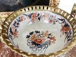 Coupe Imari D'époque Napoléon III En Porcelaine De Chine Montée Sur Bronze Doré