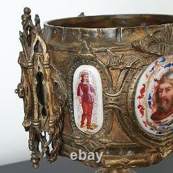 Coupe en Bronze Cratère Néogothique Plaques Porcelaine Charlemagne XIXè 2,2 kg