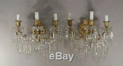Cristal De Portieux, Paire d'Appliques à Pampilles Et Bronze époque Napoléon III