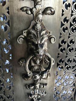 Devant de Cheminée Pare feu Art Déco Laiton / Bronze ajouré 65X56 chimère