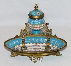 EMAUX DE BRESSE BRESSANS RARE ENCRIER BRONZE 19ème siècle ANTIQUE ENAMEL INKWELL