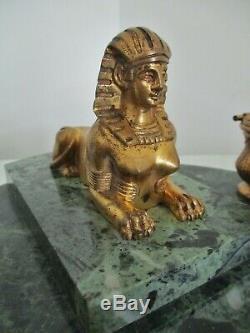 ENCRIER bronze marbre vert NAPOLÉON III retour dÉgypte Sphinge XIXe Empire
