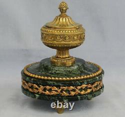 ENCRIER en Bronze Doré et Marbre Vert de Mer Epoque Napoléon III XIXème Siècle