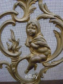 Ecran par feu cheminée bronze Charles Casier d'époque Napoléon III 19ème