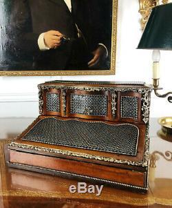 Écritoire D'époque Napoléon III En Marqueterie À La Reine Orné De Bronze