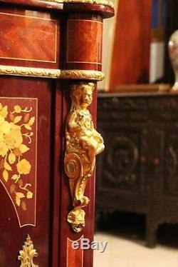 Encoignure meuble bas d'angle décor marqueté ornements bronze Napoléon 3