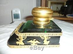 Encrier Cristal Taillee Et Bronze Dore Empire Napoleon III 1850