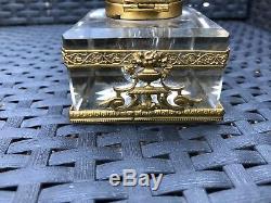 Encrier En Bronze Et Cristal Xixeme / Napoléon III