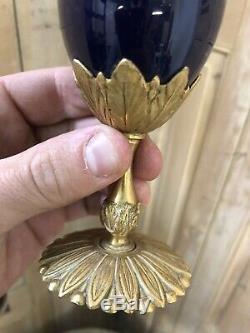 Encrier Lampe de Bureau Bronze Doré XIXeme Bleu de Sèvres Napoléon III Ancien