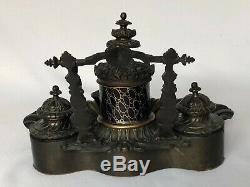 Encrier Napoleon III En Bronze 19eme Avec Porcelaine Paris Decor Coquille C1661
