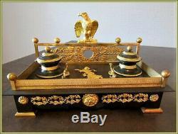 Encrier, Pendule en bronze, Empire, clock Napoléon III