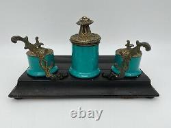 Encrier Xixeme Porcelaine De Paris Bronze Xixeme Napoleon III Bois Noirci M153