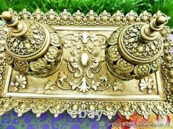 Encrier ancien Médaillons bronze XIX siècle Napoléon III France Antique inkwell